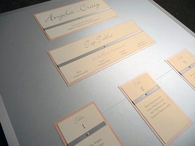 Silver and Peach themed Wedding Table Plan on an A1 size board