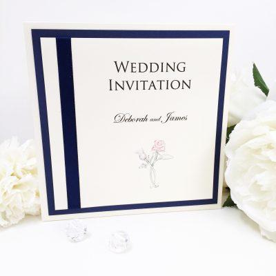 Rose & Thistle themed Pocketcard Wedding Invitations