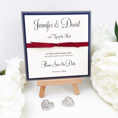 Charcoal Grey, Navy and Burgundy knotted ribbon Save the Date cards