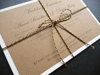 Rustic parcel style Wedding Invitation and RSVP bundle