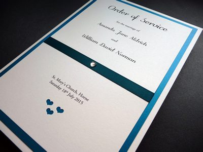 Teal and Ivory Heart themed Order of Service booklets with flat ribbon