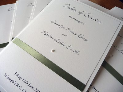 White and Silver Church Wedding Order of Service Booklet