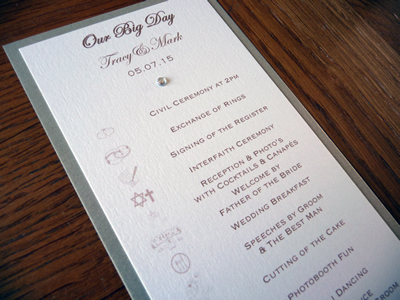 """Order of the Day """"Timeline"""" Itinerary with double mounted card with an ivory and gold colour scheme"""