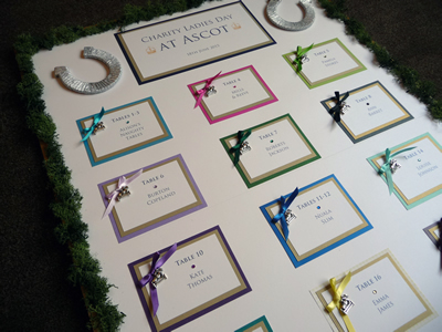 Charity Royal Ascot Horse Racing themed Seating Plan with horseshoe details (A1 size)