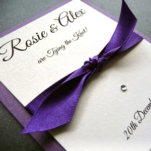 purple and ivory knotted save the date