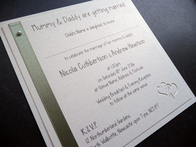 Sage Green and Ivory Mummy and Daddy are getting married flat invitations