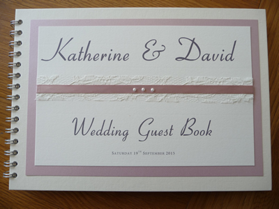 Dusky Pink and Lace themed Wedding Guest Book with 3 pearls
