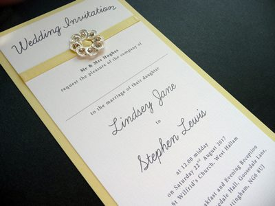 Lemon and White tall wedding invitations with a pretty ribbon slider