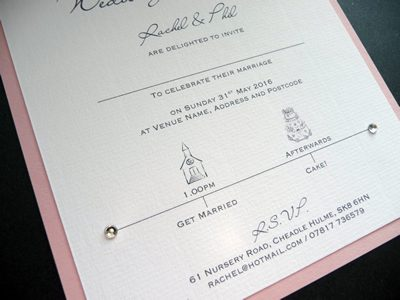 Get married and eat cake themed wedding invitation with pink base card