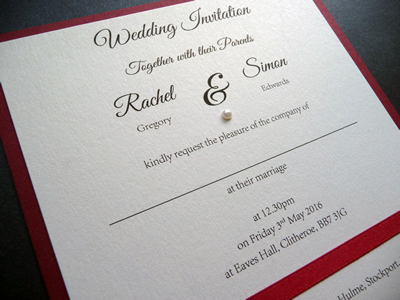 Red and Ivory mounted Wedding Invitation with satin ribbon and pearl