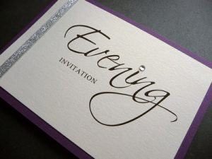 Purple pearlised oblong landscape folded Evening invitation with metallic silver ribbon