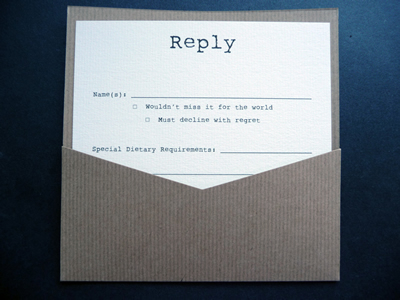 Flat Wedding invitation with the reply card in a pocket on the back