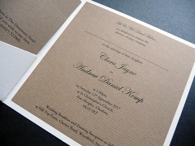 Rustic kraft and ivory pocketcard wedding invitations