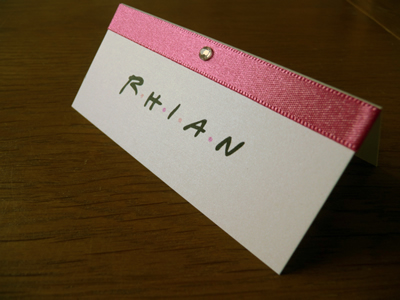 Friends TV show themed Placecards with Pink ribbon