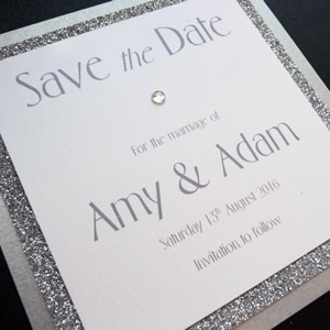 silver glitter save the date