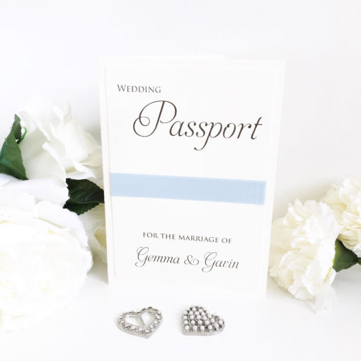 Passport Themed Wedding Invitations with a Sky Blue colour scheme