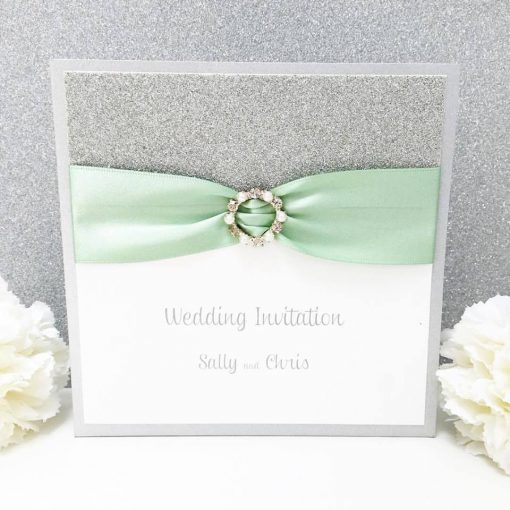 Mint Green and Silver Glitter pocketcard with fancy ribbon buckle