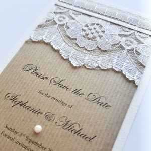 lace and kraft vintage save the date
