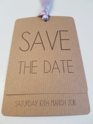 Rustic Loop Tied Tag styled Save the Date card with Lilac Ribbon