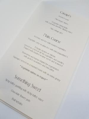 Wedding Breakfast Menu insert