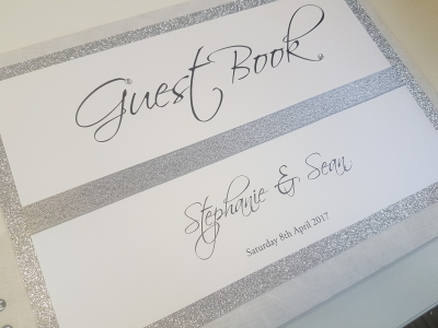 Silver Glitter and White themed Wedding Guest Book