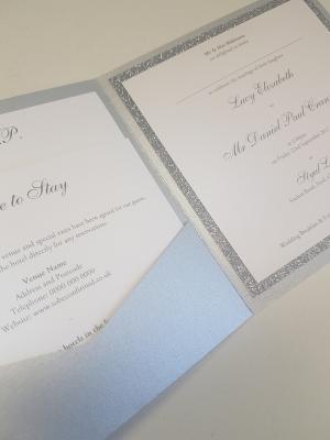 Silver Pocketcard invitation with Silver Glitter card mount inside
