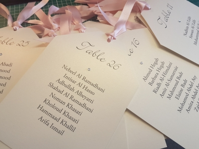 Blush Pink and Ivory Luggage Tag shaped cards for a hanging table plan