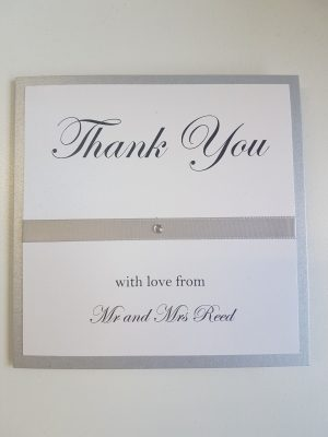 Silver and White Thank You Cards