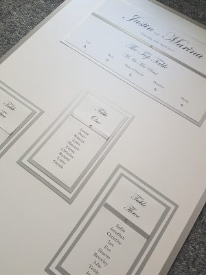 White & Silver Table Plan board for an intimate wedding
