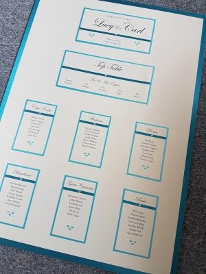 Classic Teal and Ivory themed Wedding Breakfast Table Plan Board (A1 size)