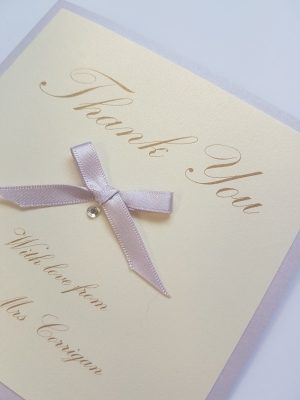 Lilac and Ivory Folded Thank You Card with a satin ribbon bow
