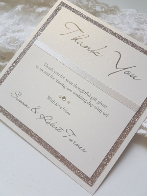 Flat Gold and Ivory Glittery Thank You Cards with ribbon detail