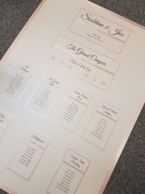 Blush Pink and White Table Plan Board with white pearls (A1 size)