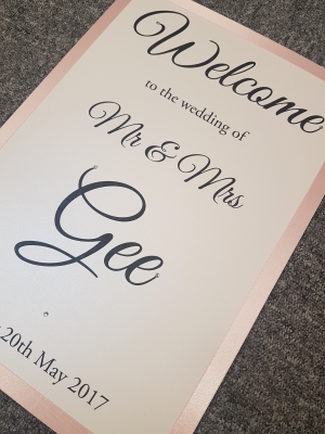 Welcome to Our Wedding Sign with a Pink and White colour scheme (A3 size)