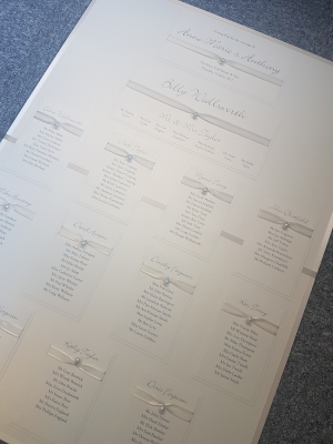Traditional Ivory Table Plan Board with ivory pearl buttons (A1 size)