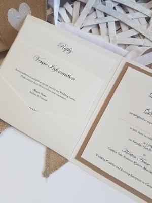 Rustic pocketfold wedding invitation
