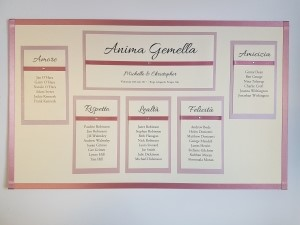 Bespoke Sized Table Plan board for a Frame with pink ribbon
