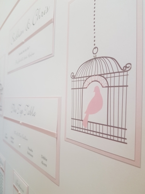 Birdcage theme White & Baby Pink themed Table Plan board (A1 size)