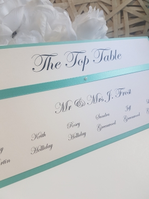 Turquoise and White Table Plan Cards with ribbon and white pearls