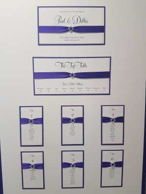 Purple themed Table Plan Board with diamond shaped buckles (A1 size)