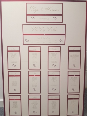Heart themed Wedding Table Plan with an ivory and red colour scheme (A1 size)