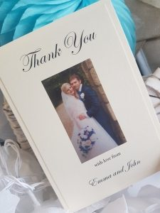 Bespoke Folded Thank You Card with a Wedding Photo printed on the cover