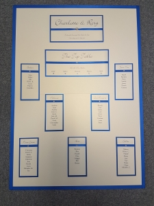 Classic Royal Blue and Ivory Wedding Table Plan (A1 size)