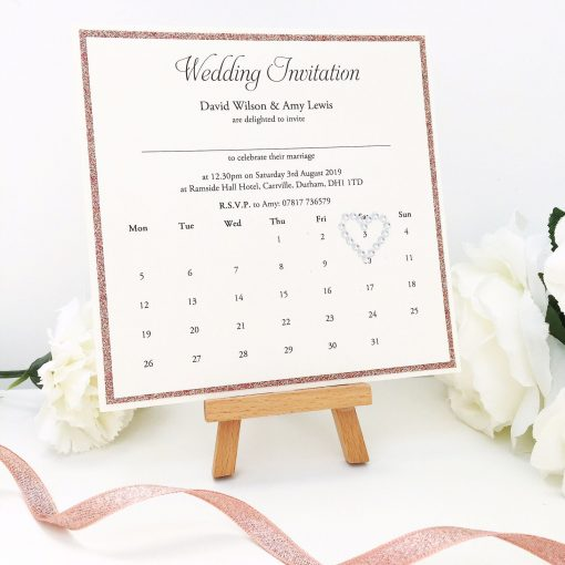 Rose gold and ivory calendar theme Wedding Invitation