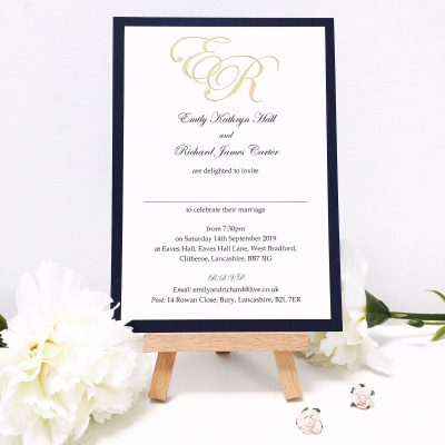 Initials Foiled in Gold at the top of Flat Mounted Evening Invitations
