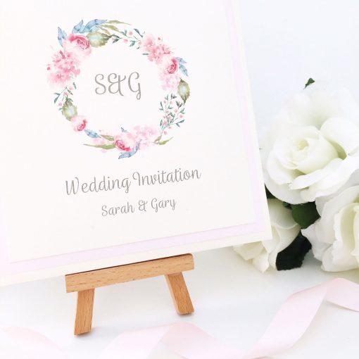 Floral Wreath themed Pretty Pocketcard Wedding Invitation