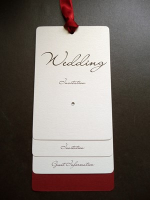 Ivory and Red loop tied style wedding invitation