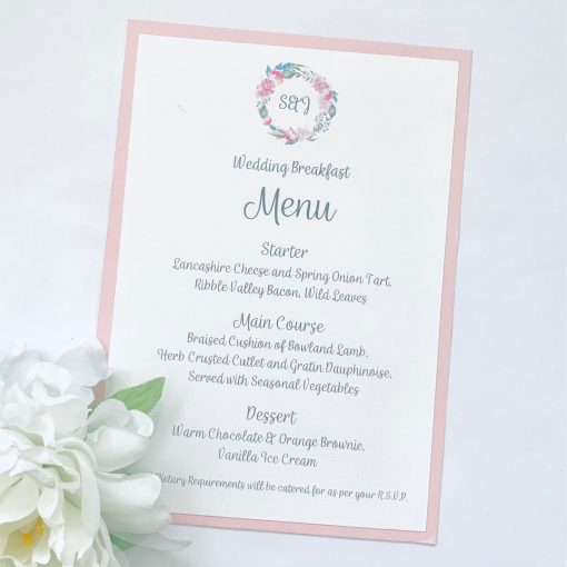 peony wreath menu card