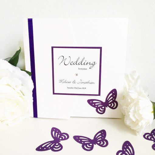 Purple Pocketfold Wedding Invitation with a Butterfly Theme & Plaque