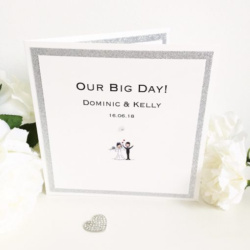 Cute Our Big Day themed Pocketcard Wedding Invitations with a diamante